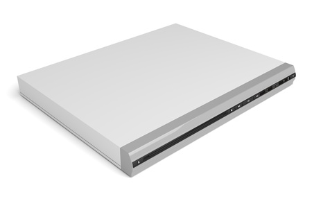blue ray: Video and audio disc player on white background  Stock Photo