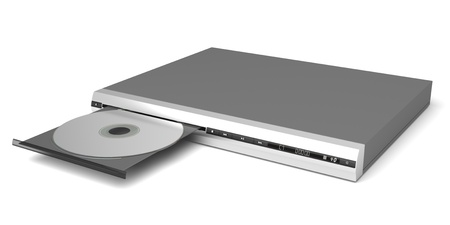 cd player: DVD player with open tray on white background Stock Photo