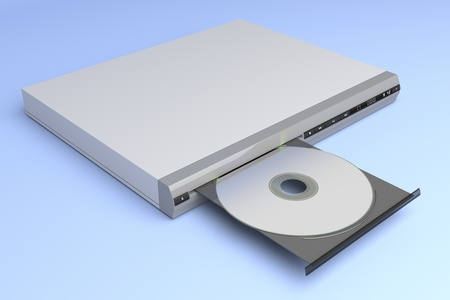 CD player with open tray on blue background photo