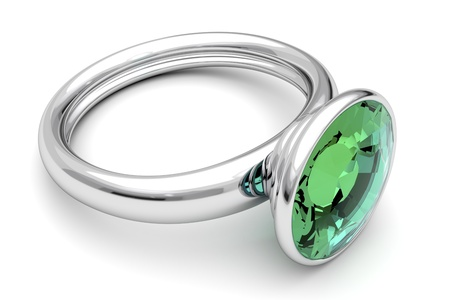 Platinum ring with green diamond Stock Photo - 11541615