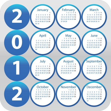 Rounded calendar for year 2012 Vector