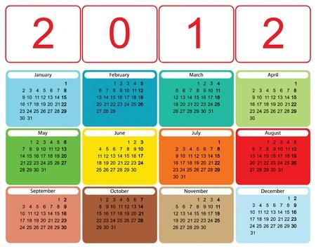 Calendrier moderne coloré pour 2012 Illustration