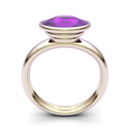 Pink gold ring with purple diamond photo
