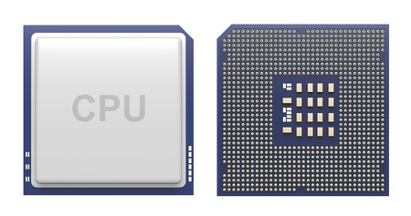 transistor: Delantera y trasera vista de procesador de la computadora aislados en blanco