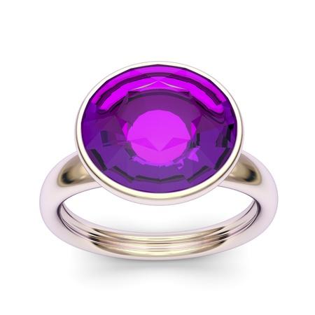 zafiro: Rose anillo de oro con gran diamante púrpura