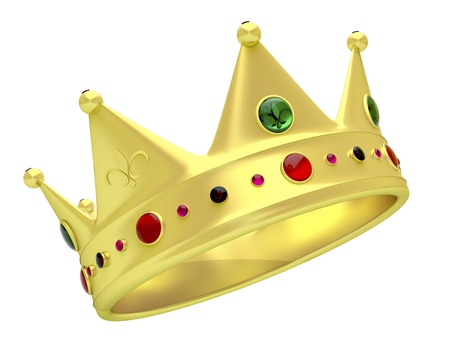 royalty: Golden crown isolated on white Stock Photo