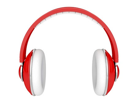 Red DJ headphones isolated on white photo