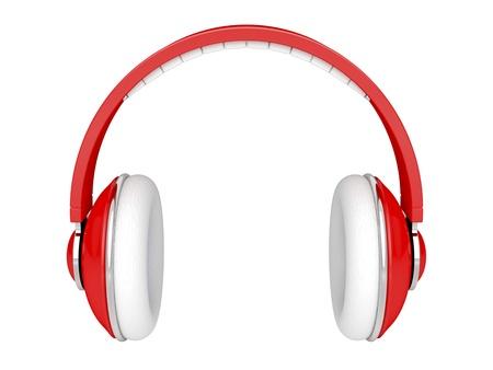 earphone: Red DJ headphones isolated on white Stock Photo