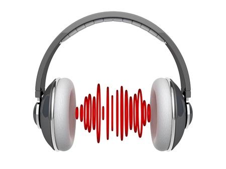 geluid: Grijze hoofdtelefoons met geluidsgolven op wit wordt geïsoleerd