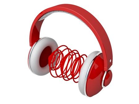 sonido: Los auriculares de color rojo con las ondas de sonido Foto de archivo