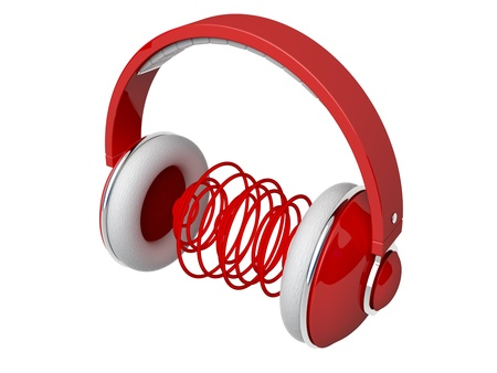 Red headphones with sound waves photo