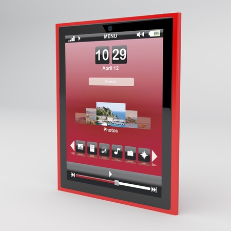Red tablet pc on gray background Stock Photo - 12163870