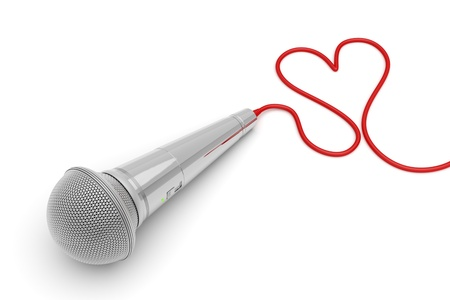 Music for love - concept image with microphone and heart shaped wire Stock Photo
