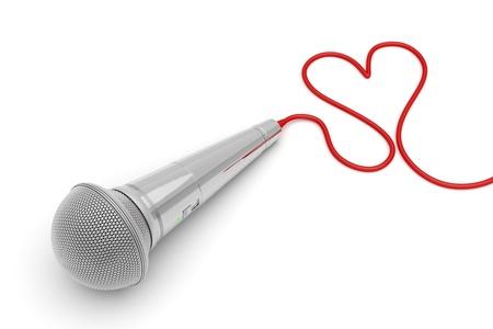 Musique pour l'amour - image concept avec microphone et le fil en forme de coeur