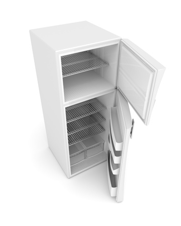 Empty white fridge with opened doors photo
