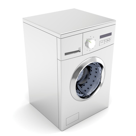 dirty clothes: Washing machine on white background
