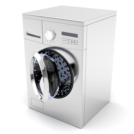 Washing machine with opened door on white background photo
