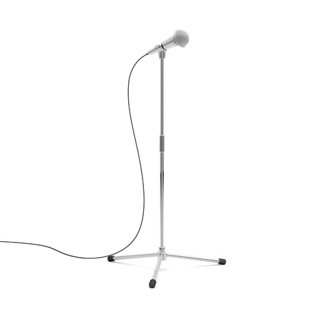 3d illustration of microphone on metal stand illustration