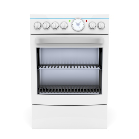 electric stove: Electric cooker on white background - front view Stock Photo