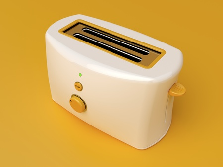 electrical appliances: White electric toaster on orange background