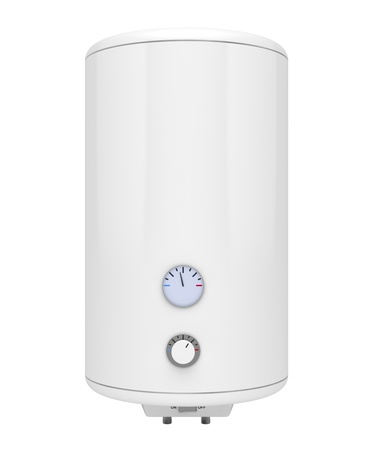 Electric water heater isolated on white photo