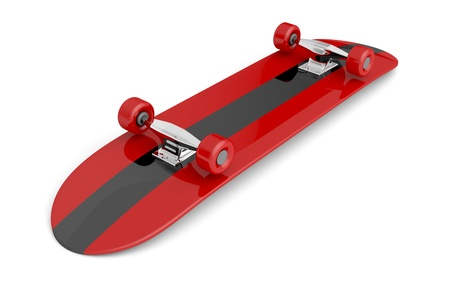 Bottom of skateboard on white background photo