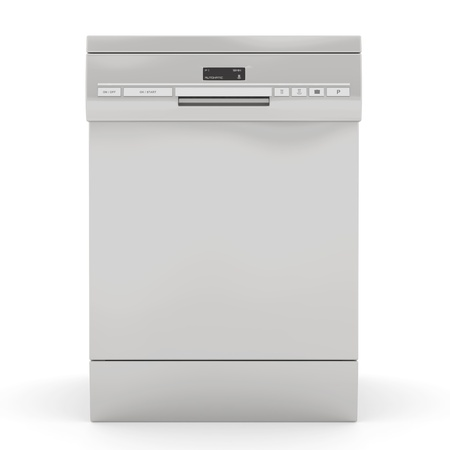 Silver dishwasher isolated on a white background photo