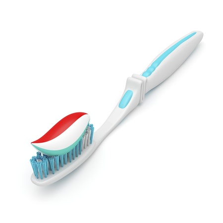 mouthwash: Toothbrush with toothpaste on a white background