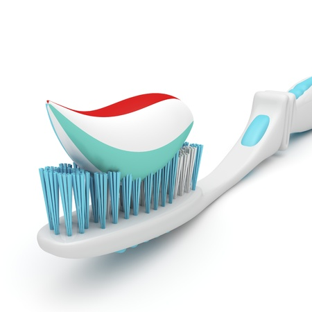 Close-up image of toothbrush with toothpaste photo