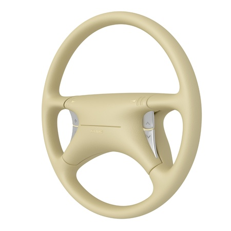 airbag: Steering wheel isolated on white background Stock Photo