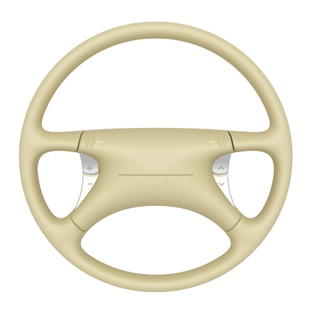 airbag: Beige steering wheel isolated on white background Stock Photo