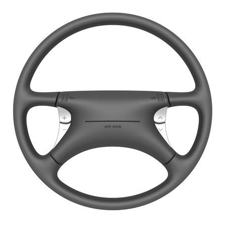 front wheel drive: Steering wheel with airbag isolated on white background