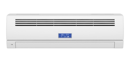 aire acondicionado: Acondicionador de aire aislado en el fondo blanco, de frente