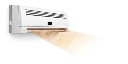 Air conditioner blowing hot air photo