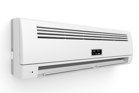Split-system air conditioner on white wall photo