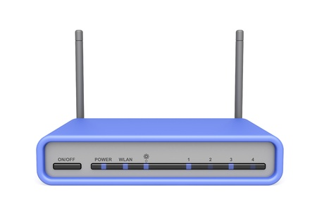 hub: Wireless router on white background