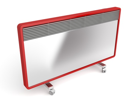 Silver-red panel heater on white background photo