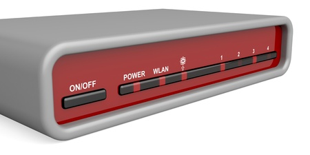hub: Front panel of wireless router Stock Photo