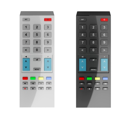 remote controls: Black and gray remote controls isolated on white background