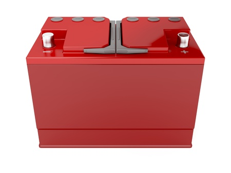 Red car battery on white background, 3d rendered image photo