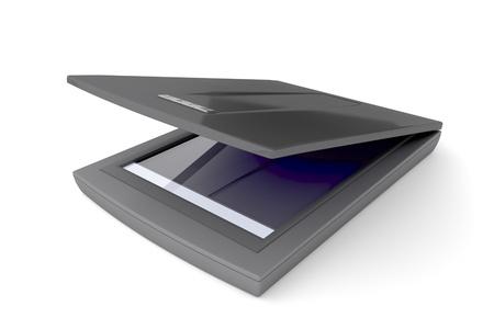 Flatbed scanner op een witte achtergrond Stockfoto