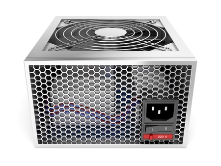 units: Computer power supply unit on white background Stock Photo