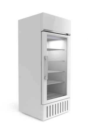 Display fridge on white background photo