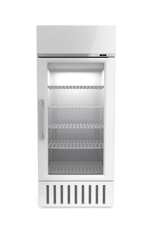 Market koelkast op witte achtergrond Stockfoto