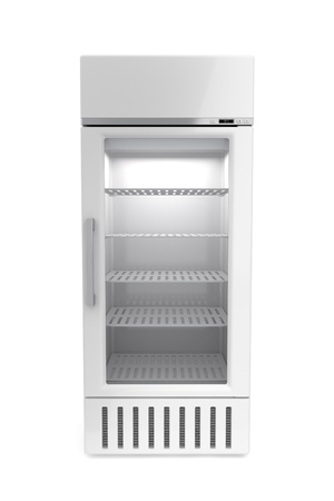upright: Market refrigerator on white background Stock Photo