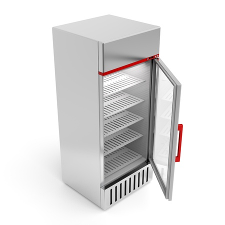 Silver fridge with open door photo
