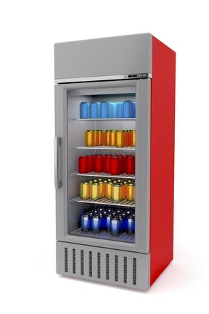 Réfrigérateur marché vertical complet avec des canettes Banque d'images