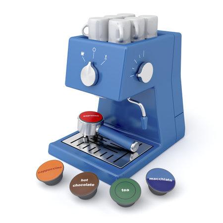 maquina de vapor: Cafetera azul con cápsulas de café y té Editorial
