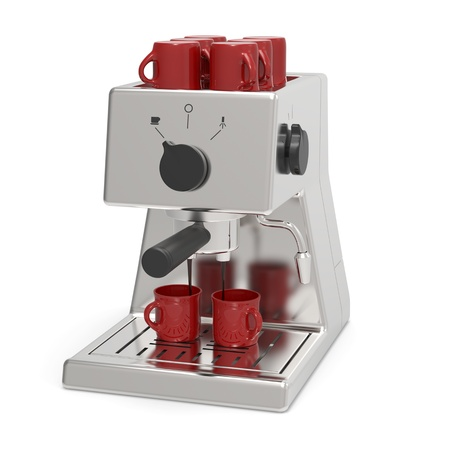 espresso machine:  Silver espresso machine brewing espresso coffee
