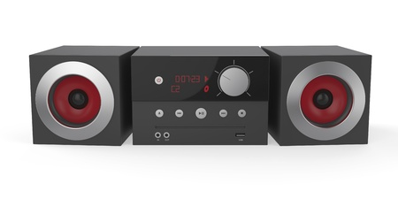 Mini audio system on white background
